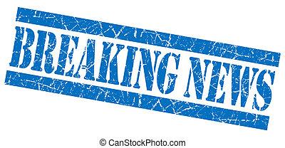 Breaking news grunge blue stamp