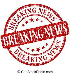 Breaking news grunge red round stamp
