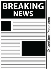 Breaking News Headline In Newspaper Vector Illustration