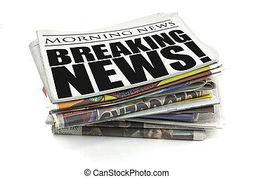 breaking news headline on a mock up newspaper