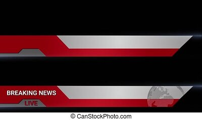 Breaking news headlines live for news events. Transition to Lower Third Title Strap on black background. Can be used with online media, TV and social media
