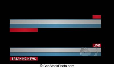 Breaking news headlines live for news events. Transition to Lower Third Title Strap with a rotating world map on black background. Can be used with online media, TV and social media