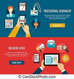 Breaking News Horizontal Banners - Professional journalist...