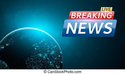 Fake news live with world map on blue glowing plexus clip art breaking news live abstract background with a glowing blue planet earth technology and business gumiabroncs Image collections