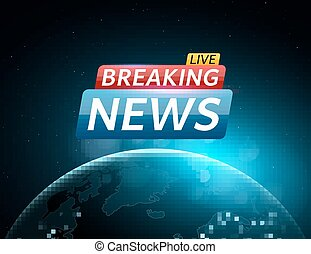 Breaking news live with world map on blue glowing plexus eps breaking news live abstract futuristic background with a glowing blue planet earth technology and gumiabroncs Image collections