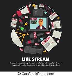 Breaking news live broadcast vector poster of anchorman on...