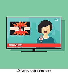 Breaking news on tv screen, television program with woman reporter