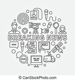 Breaking news outline illustration - vector sign made with ...