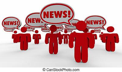 Breaking News People Speech Bubbles Sharing Updates Words