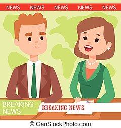 Breaking news people - Vector Illustration anchorman...