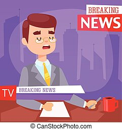 Breaking news people - Vector Illustration anchorman...
