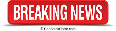 breaking news red three-dimensional square button isolated...