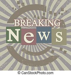 Breaking news retro screen background, vector illustration