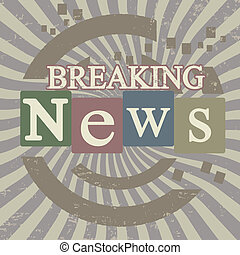 Breaking news retro screen background, vector illustration
