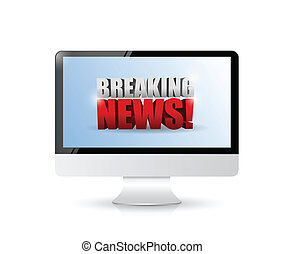 breaking news sign on a computer. illustration