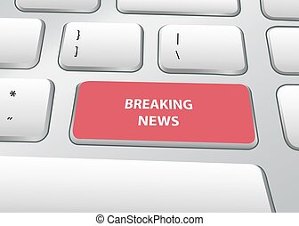 Breaking News Sign on PC Keyboard Vector