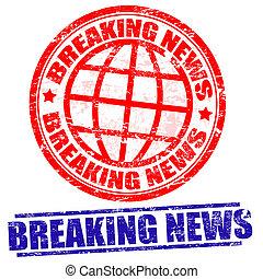 Breaking news grunge stamps on white, vector illustration