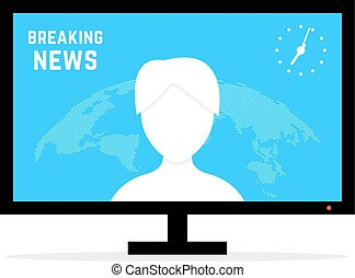 breaking news with anchorwoman. concept of anchorperson,...