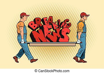 Breaking news workers carry on a stretcher. Pop art retro ...