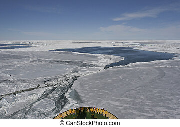 Breaking sea ice - View of the sea ice seen from the bridge...