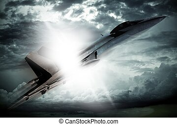 Breaking Sound Barrier. Supersonic Fighter Jet Breaking...