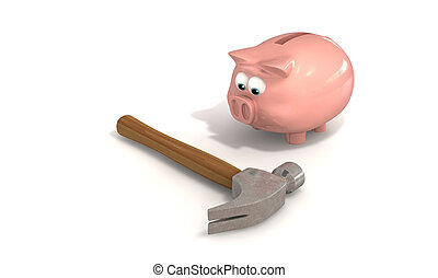 Breaking the Bank - A piggy bank staring down a hammer...