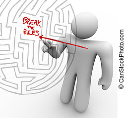 Breaking the Rules - Arrow Through Maze - A person draws an...