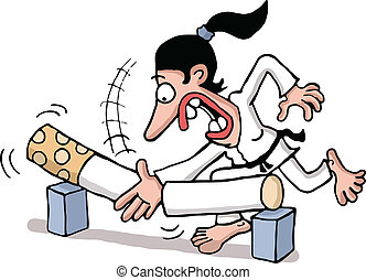Breaking the smoking habit - A martial artist woman breaking...