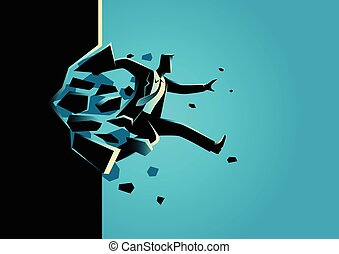 Breaking The Wall - Silhouette illustration of a man jump...
