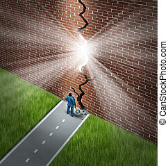 Breaking The Wall - Breaking the wall business concept with...