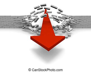Breaking through obstacles - Red arrow breaking through...