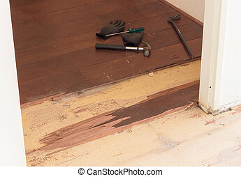 Breaking up a solid wooden floor