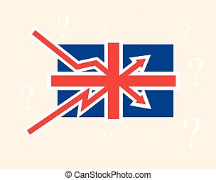 Breaking up and down trends as British flag Great Britain political economical crisis symbol