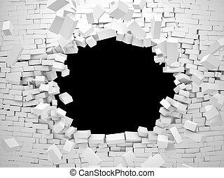 breaking wall - 3d image of breaking brick wall