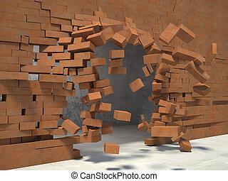 breaking wall - 3d image og breaking brick wall