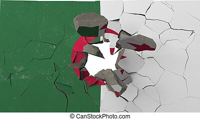 Breaking wall with painted flag of Algeria. Algerian crisis conceptual 3D rendering
