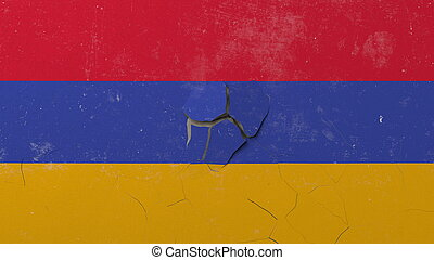 Breaking wall with painted flag of Armenia. Armenian crisis conceptual 3D rendering