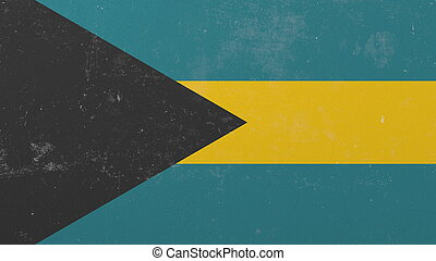 Breaking wall with painted flag of Bahamas. Bahamian crisis conceptual 3D rendering