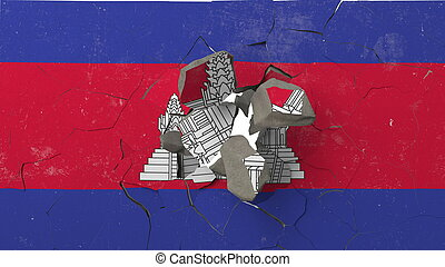 Breaking wall with painted flag of Cambodia. Cambodian crisis conceptual 3D rendering