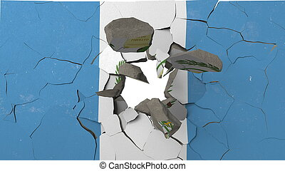 Breaking wall with painted flag of Guatemala. Guatemalan crisis conceptual 3D rendering