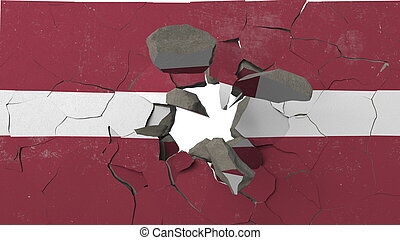 Breaking wall with painted flag of Latvia. Latvian crisis conceptual 3D rendering