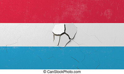 Breaking wall with painted flag of Luxembourg. Luxembourgian...
