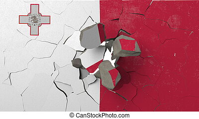 Breaking wall with painted flag of Malta. Maltese crisis conceptual 3D rendering