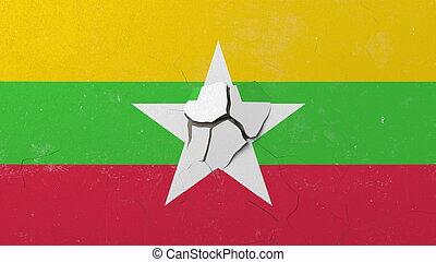 Breaking wall with painted flag of Myanmar. Myanma crisis conceptual 3D rendering