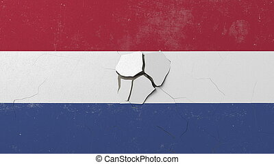 Breaking wall with painted flag of Netherlands. Dutch crisis conceptual editorial 3D rendering