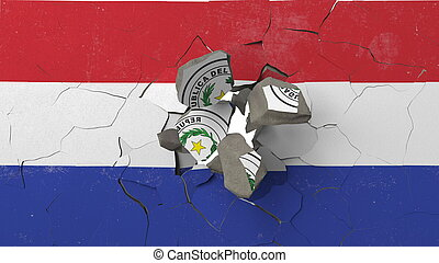 Breaking wall with painted flag of Paraguay. Paraguayan crisis conceptual 3D rendering