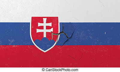 Breaking wall with painted flag of Slovakia. Slovak crisis conceptual 3D rendering