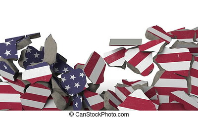 Breaking wall with painted flag of USA. American crisis...