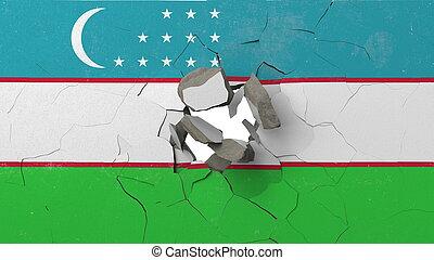 Breaking wall with painted flag of Uzbekistan. Uzbek crisis conceptual 3D rendering
