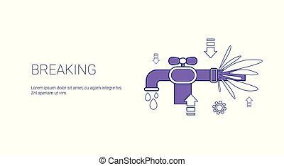 Breaking Water Pipe Burst Template Web Banner With Copy Space